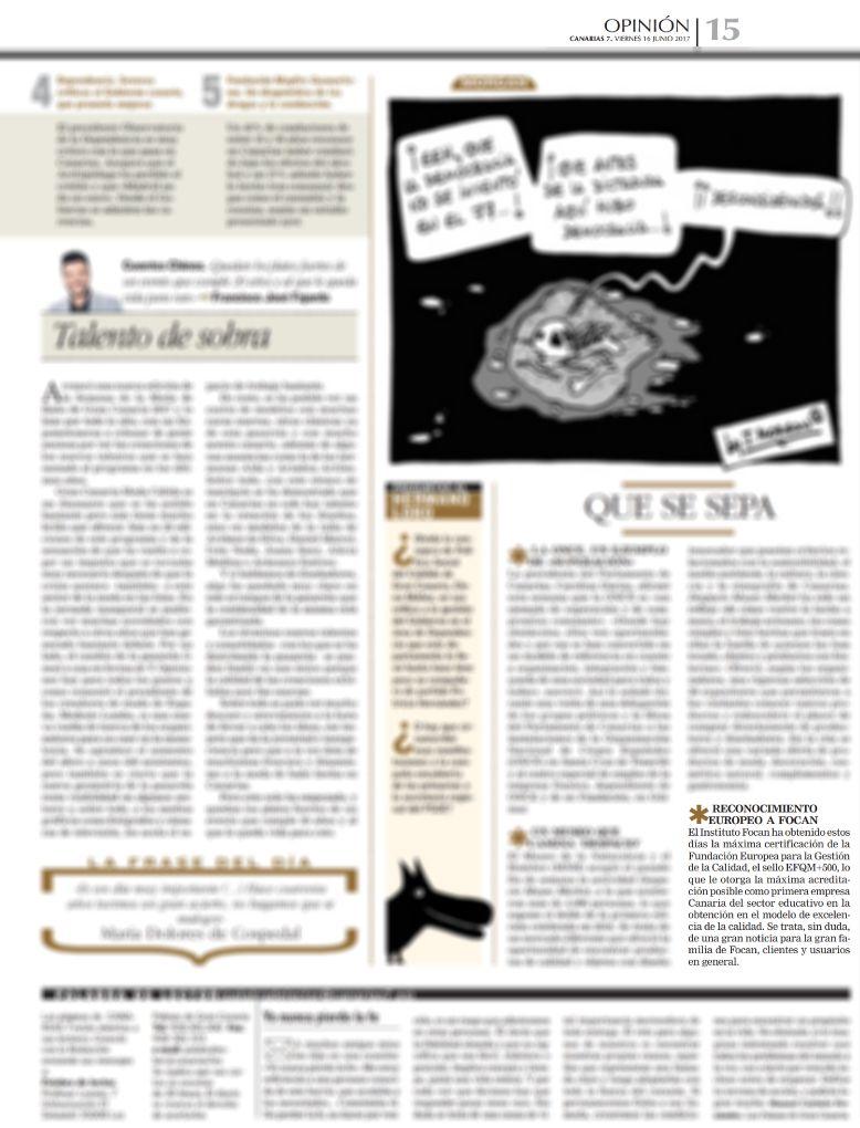 Nota de prensa en Canarias 7 obtención del sello efqm+500