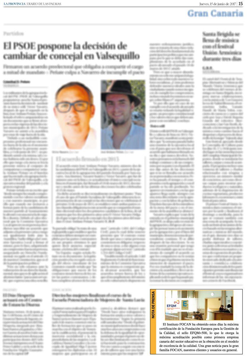 Nota de prensa en La Provincia de la obtención del sello EFQM+500