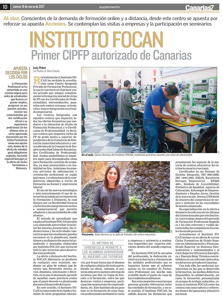 artículo del Canarias 7 especial formación marzo 2017