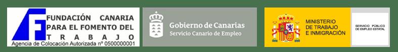 Logo Funcatra,Gobierno de Canarias SCE,Ministerio de Trabajo SEPE