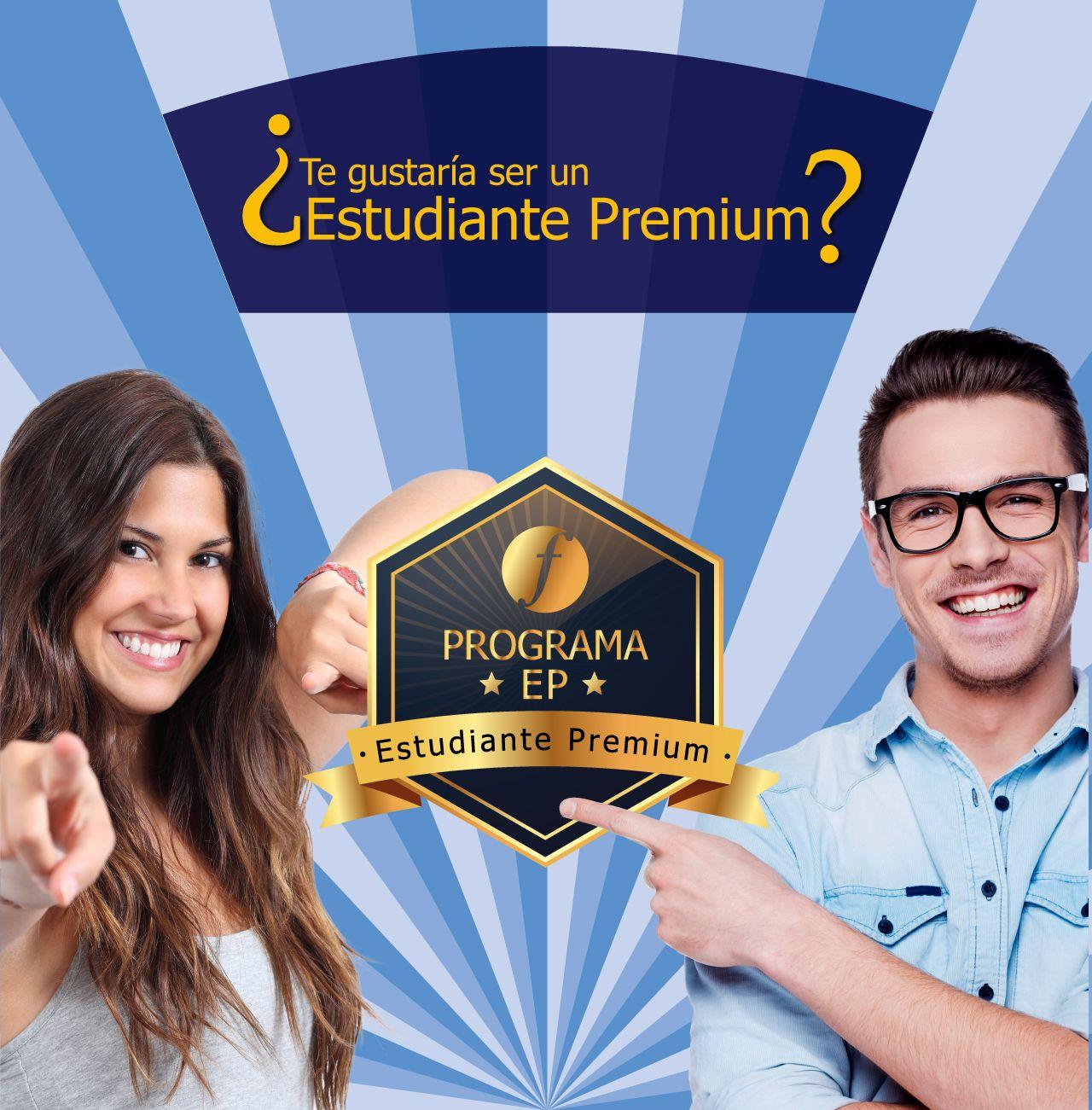 Chico y chica sonrientes con el sello de Estudiante Premium. ¿Quieres ser un Estudiante Premium?
