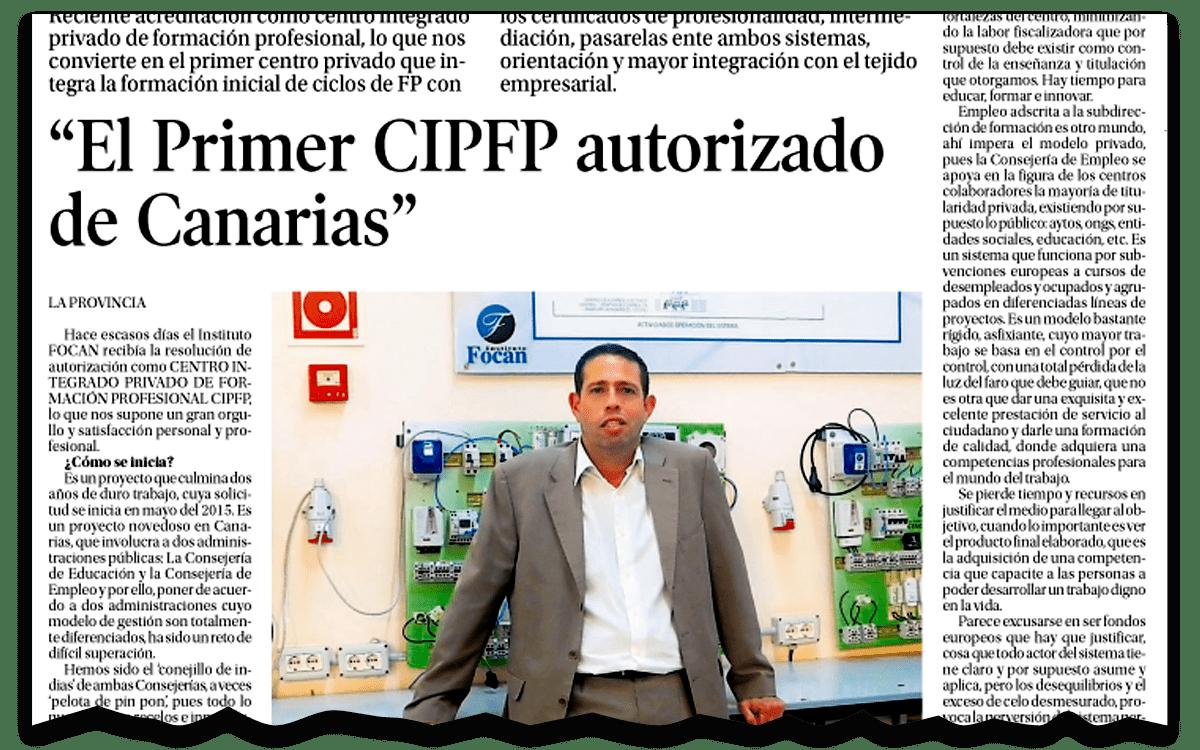 Miniatura de artículo de prensa: Primer centro en canarias en obtener el CIPFP