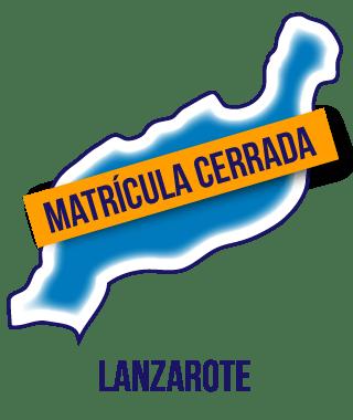 Silueta de la isla de Lanzarote en color azul