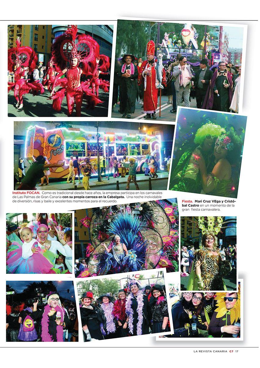 Collage de fotos, entre ellas la carroza del carnaval del Instituto Focan