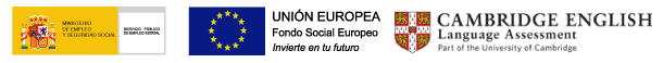 Logos del Servicio Público de Empleo Estatal, Fondo Social Europeo y Cambridge School